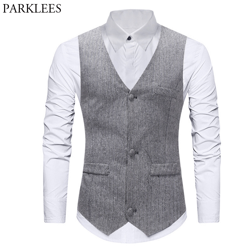 Mens Formal Single Breasted Vests Classic Herringbone Suit Gilet Homme Slim Fit Grey Waistcoat Men Marriage Chalecos Para Hombre