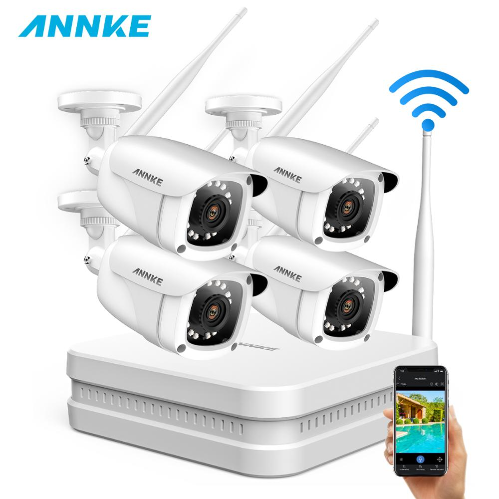 ANNKE 8CH 1080P FHD Wireless NVR Video Security System With 4PCS 2MP Bullet Outdoor Weatherproof IP WIFI Cameras Home CCTV Kit