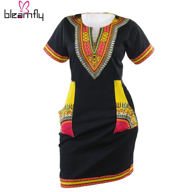 2016 Африканские платья для женщин Винтаж Dashiki Платье Халат Случайный Африканской Печати Дамы Индийские Платья Плюс Размер Женской Одежды