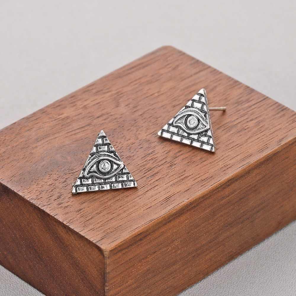 QIMING Antigo Egito Pirâmide Stud Earrings Mulheres Jóias Vintage Símbolo Egípcio Antigo Brinco Olho Do Mal Viking Presente Pingente