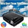 Ультра Короткая Струя 3d-проектор DLP Дневного Света 7500 Люмен 1024*768 родной HDMI VGA для Домашнего Кинотеатра Full HD 1080 P Дополнительно система