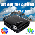 Ultra Short Throw 3D Projector Daylight DLP 7500 Lumens 1024*768 Native HDMI VGA for Home Cinema Full HD 1080P Optional System