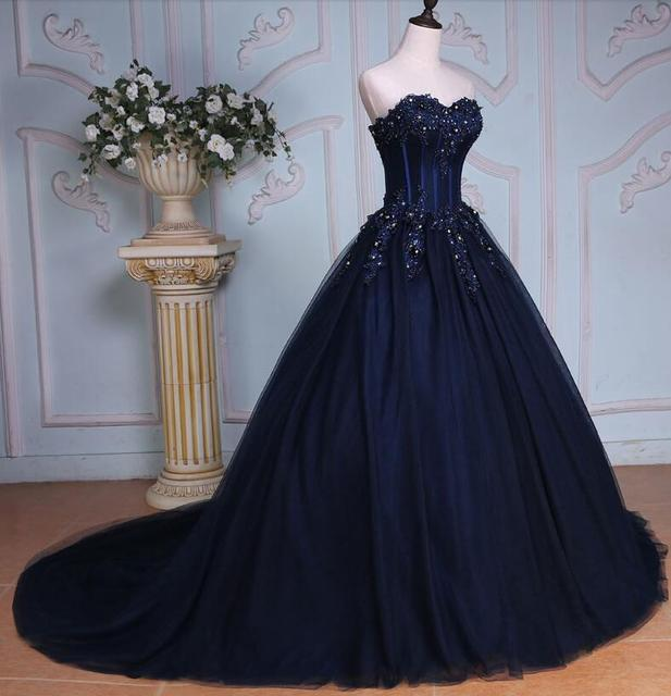 1e0c5bf129 2019 Navy Blue Ball Gown Colorful Wedding Dresses Sweetheart Beaded Lace  Appliques Corset Back Non White