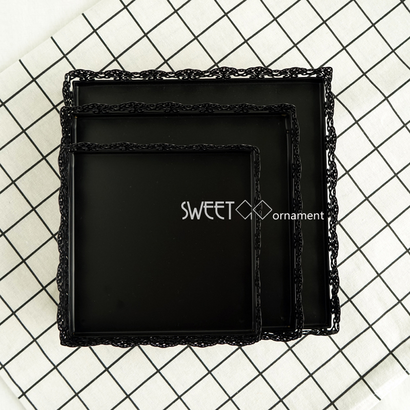 SWEETGO Square cake tray 6/8/10inch Black cake decorating tools food plate wedding table decoator bakeware Kitchen,Dining & bar