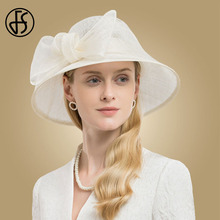 FS Elegant Beige White Black Pink Wide Brim Ladies Sinamay Womens Hat Elegant Big Bow Linen Wedding Fedoras Kentucky Derby Hats