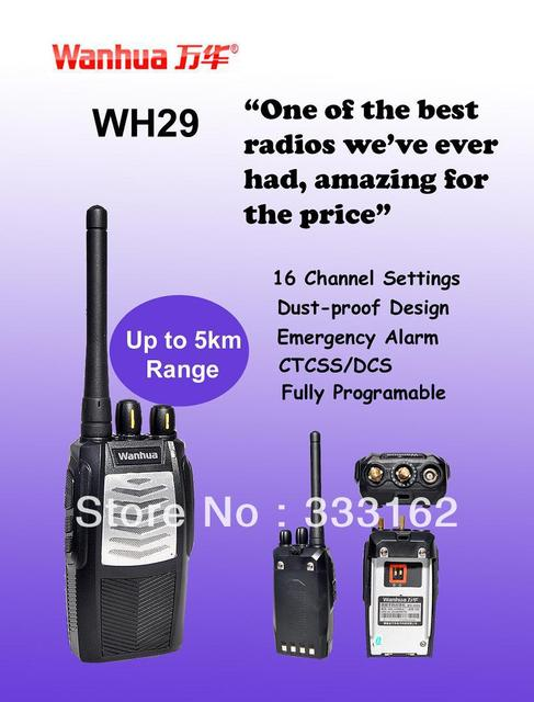WH29 Free Shipping  Interphone/Walkie Talkie With Scan Function,Emergency Alarm,Squelch Level Programmable,Tail Tone Elimination