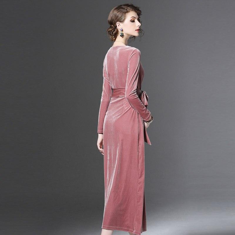 Maxi brown Élégant Longue Mode cou Parti Féminine Profonde B88 Longues Pink Robes Femmes À Velours Printemps Manches 2018 Robe Split De V Nouveau Rose awZRqxg