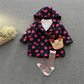 Fast High Quality 2016 Korean Autumn Winter Children Cute Warm Hooded Thicken Dot Wool Coat Outwear Baby Girls Clothes