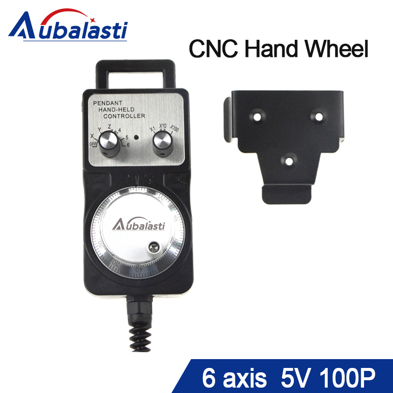Handwheel pulse generator CNC electronic hand wheel 6 axis MPG MPG diameter 60mm DC5V 6pin pulse 100 use for cnc router machine handy pulser mpg handwheel 4 axis 100ppr 5v 15v manual pulse generator use for fanuc fagor cnc system with cable
