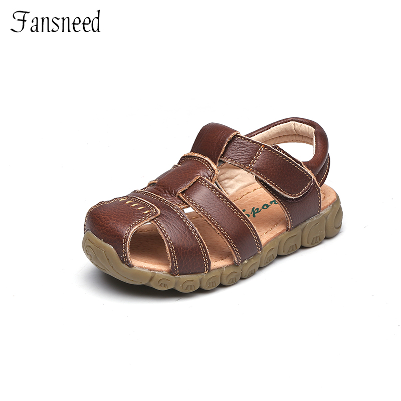 Children Shoes Summer Sandals Genuine Leather Quality Boys and Girls Beach Sandals Cowhide Causal Kids Shoes uovo summer new children shoes kids sandals for boys and girls baotou beach shoes breathable comfortable tide children sandals