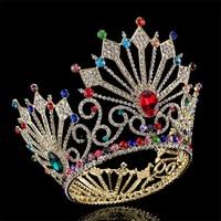High Quality Bridal Tiaras And Crowns Full Crystal Rhinestone Gold Silver Wedding Hair Crown For Women