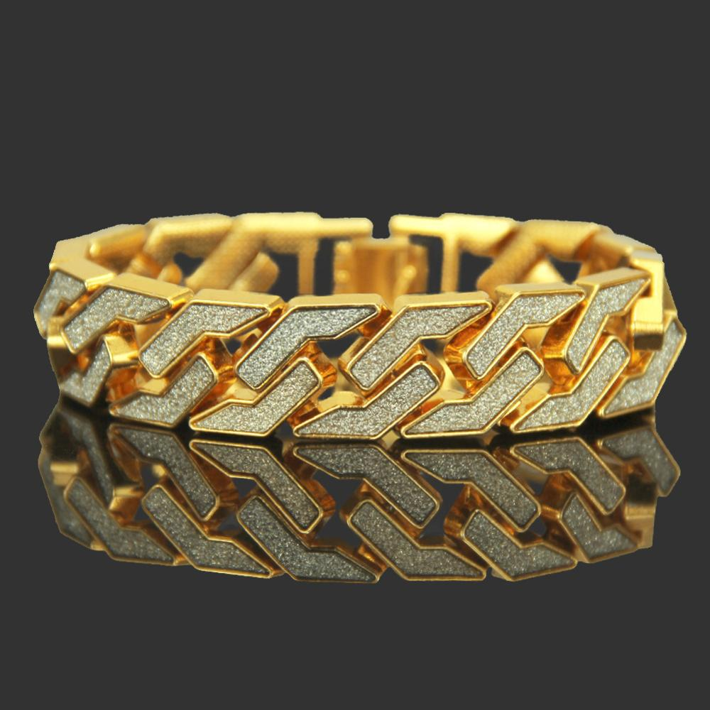 Iced Out Tone Hip Hop Sand Blast <font><b>Bracelets</b></font> Cuban Chain Link 8.3inch 17mm Mens Bling <font><b>Bracelet</b></font> for Men Women image