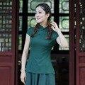 Novelty Stylish Green Chinese Women's Cotton Linen Shirt Tops Short Sleeves Blouse tang Clothing Size S M L XL XXL XXXL 2518-7