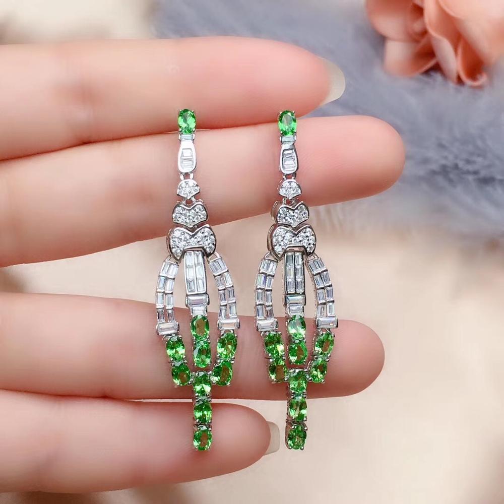 Livraison gratuite naturel et réel Tsavorite boucle d'oreille 925 en argent sterling boucles d'oreilles bijoux fins - 4