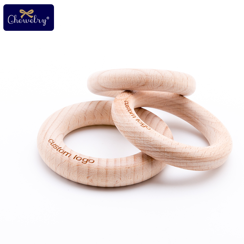 Customize Engraved Beech Wooden Ring 50Pc Baby Teether Wooden Blanks Teether 20 Maple Bead Baby Product Diy Crafts For Kid Toys