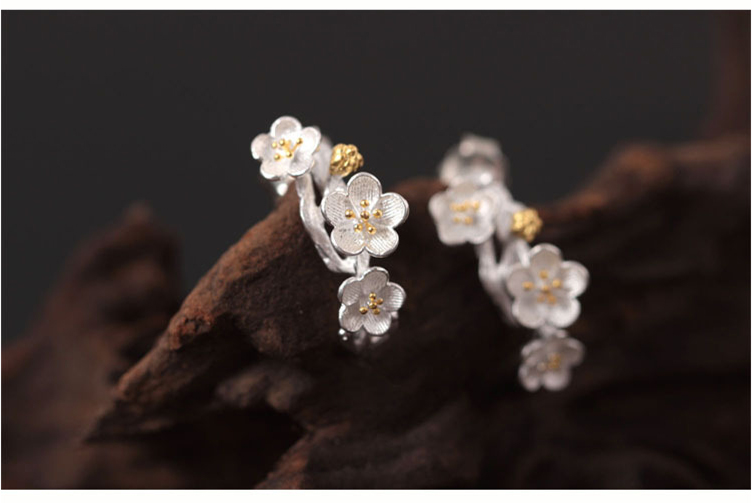 Натуральная 925 пробы серебро изысканные свадебные украшения алычи цветут цветы Шарм серьги стержня для Для женщин подарок Joyas де Плата