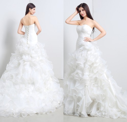 nueva llegada 2016 de la sirena del organza vestidos de novia de