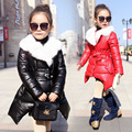 Top Winter Children's Winter Fur Collar Fur Coat 2016 New Fashion Thicker Coat Long-Term High-End Baby Clothes 3 4 6 8 10 12T
