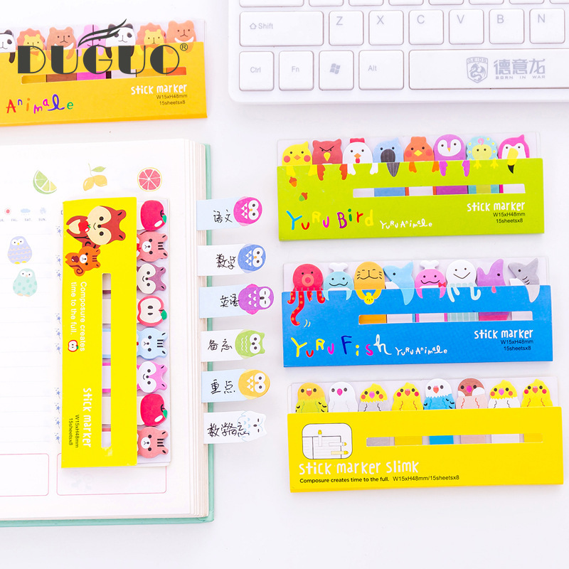 DUGUO cute stationery creative cute animal row row station post-it study office memo N times post cute memo kawaii supplies image