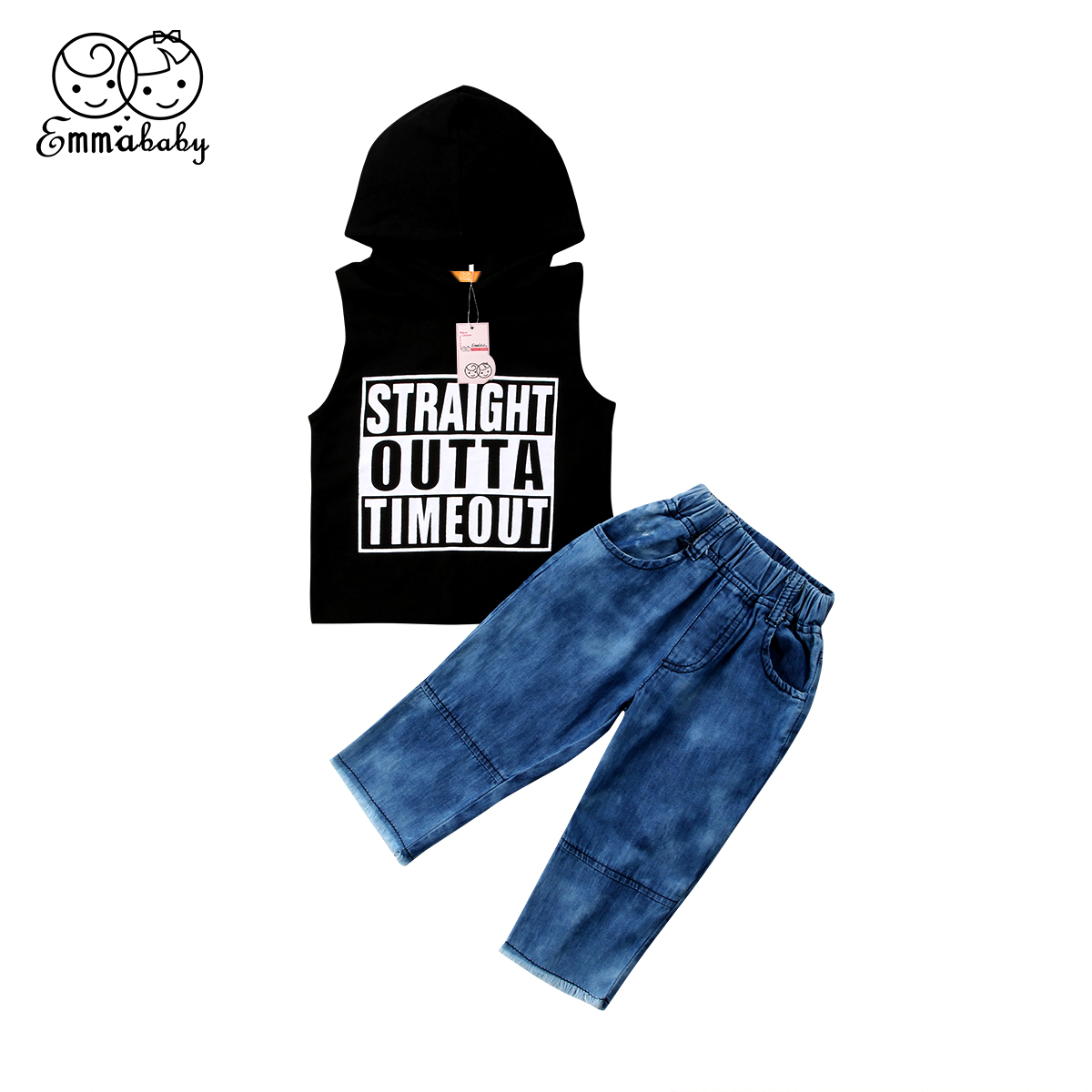 2018 new casual Cute Kids Baby Boys Hooded sleeveless tank Tops Vest Denim Long Pants Jeans 2pcs fashion Outfits Clothes Set