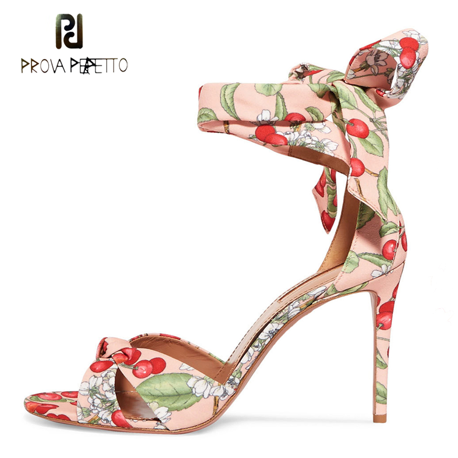 Prova Perfetto newest high heels gladiator sandals for women fashion cherry print fabric ankle strap party shoes stiletto heels stiletto metallic ankle strap heels
