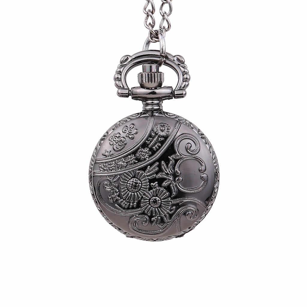 Cadran rond Vintage petite montre de poche noir araignée filet couverture Quartz montre de poche reloj de bolsillo montre de poche cep saati