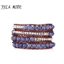Fyla Mode Wrap Bracelets for Women 4 Strands Leather Wrap Bracelets Funky Natural Stone Bead Weaving Bead Bracelet Holiday Gift