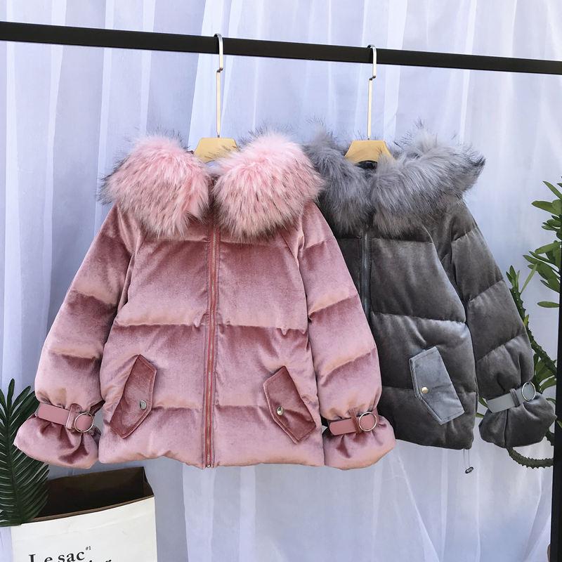 Winter Jacket Women   Parka   Warm Hooded Fur Collar Short Jacket Coat Gold Velvet Outerwear Jaqueta Feminina Winter Coat Women Q798