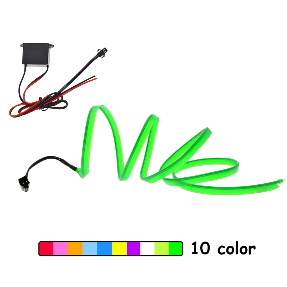 EL Wire 6mm Sewing Edge Neon Car Lights Glowing Strobing Electroluminescent Halloween Christmas Party Decor Led Strip Light