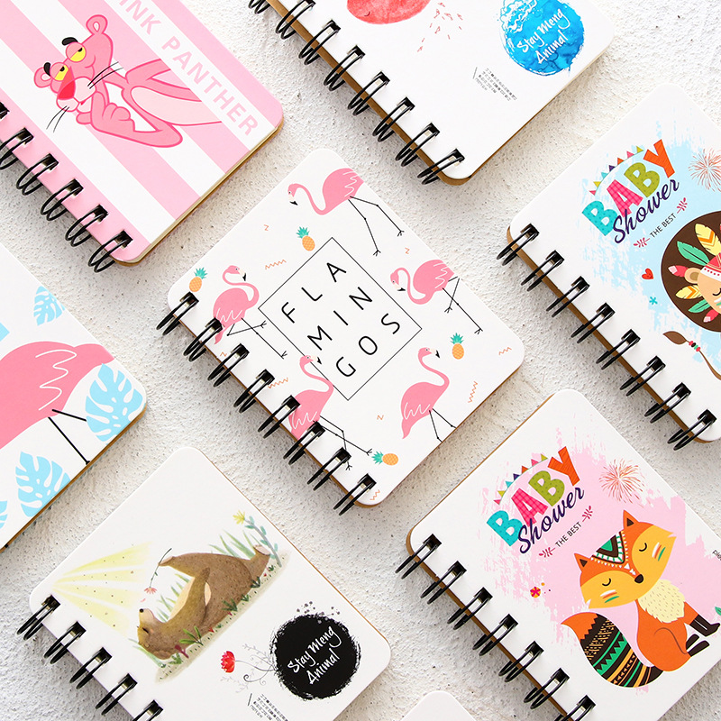Kawaii flamingo Notebooks Cute leopard Notepads School Supplies Stationery Students Week Planner Spiral Day plan Diary Memo pad plan