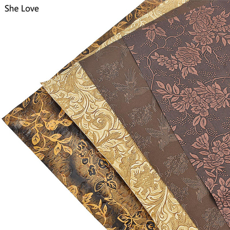 She Love A3 42x30cm Vintage Printed Flower Synthetic Leather Fabric For DIY Clothes Crafts Bows Making Material