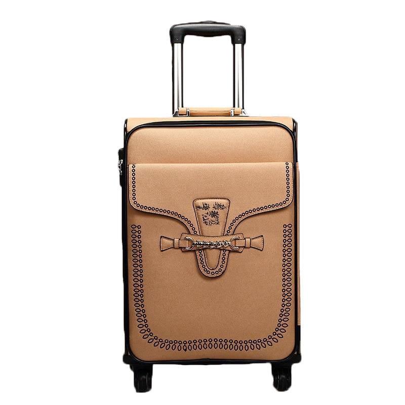 2024inch PU Leather wheels travel de viaje con ruedas envio gratis suitcase valiz maletas koffer carry on luggage