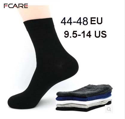 Fcare 10 PCS = 5 pares de meias de vestido de algodão para homens, além de tamanho grande e grande 44, 45, 46, 47, 48, meias de vestido de negócios calcetines