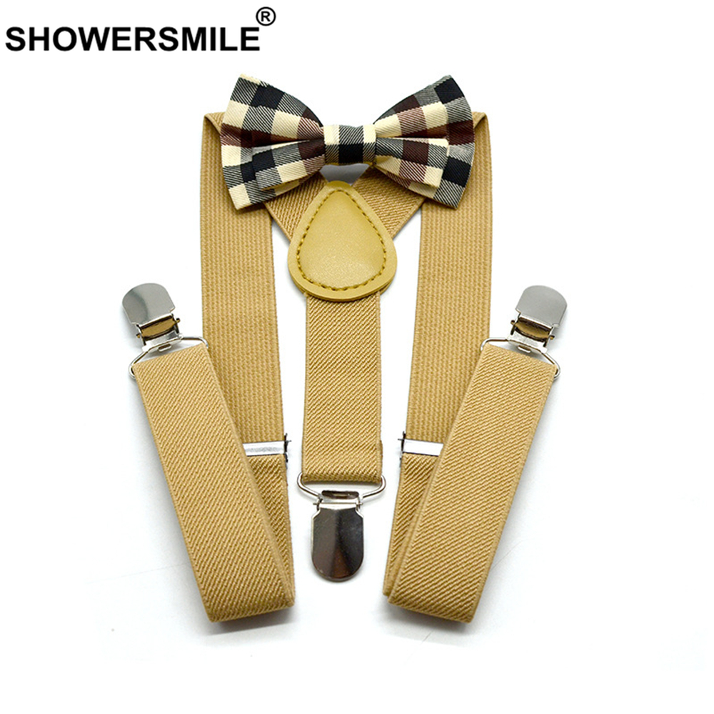 SHOWERSMILE Kids Suspenders Khaki Baby Boy Suspenders Bowtie Solid British Style Wedding Vintage Children Braces 65cm*2.5cm