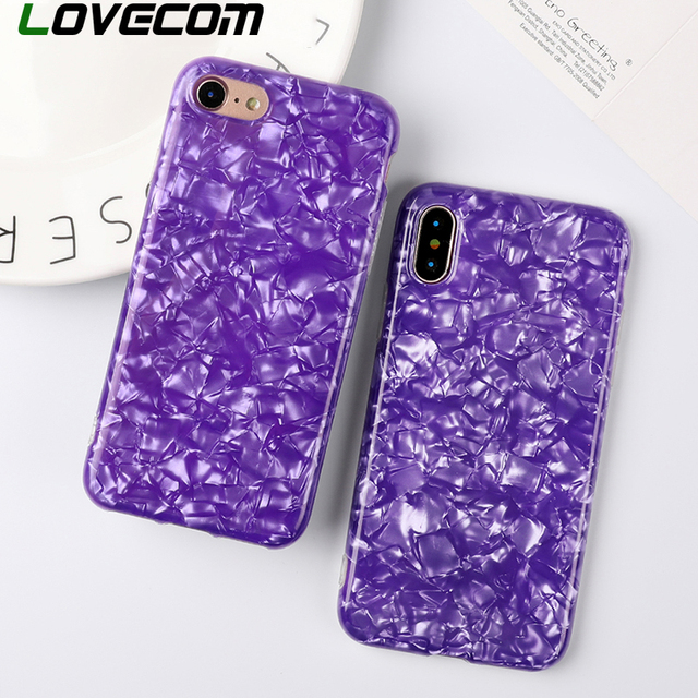 huge discount 3141b 0f50a US $3.24 10% OFF|LOVECOM Glossy Phone Case For iphone X 8 7 6 6s Plus  Fashion Ultra Violet Coquille Pattern Soft IMD Phone Cover Cases Coque-in  Fitted ...
