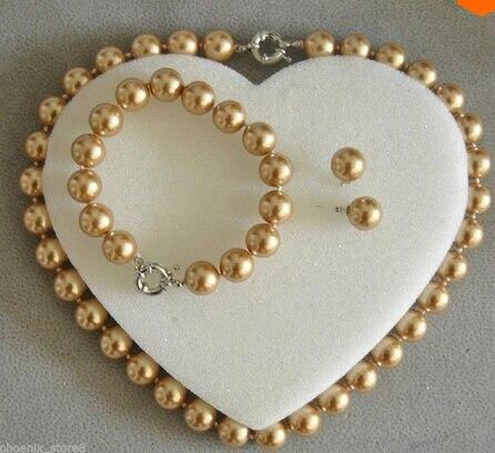 Pearl Wedding Necklace Shell Bracelet /& Earrings Set