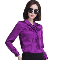 2017 Fall Long Sleeve Satin Shirts Women Bow Tie Silk Blouse Women Neck Formal Shirts Ladies