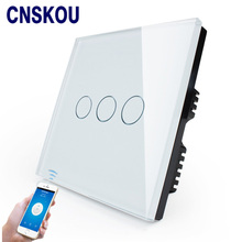 Cnskou Manufacturer Wifi Touch Switch, LED Light Wall Smart Home Remote Control UK Switch,3 Gang 1 Way Luxury Glass Panel