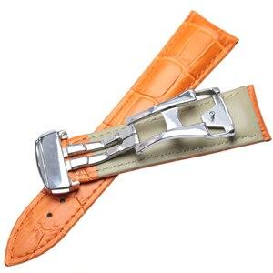 Image 5 - Ремешки для наручных часов 20 мм 22 мм ремешок для часов из натуральной кожи Черный Коричневый Оранжевый ремешок для часов Сменные Аксессуары Металлическая стальная пряжка