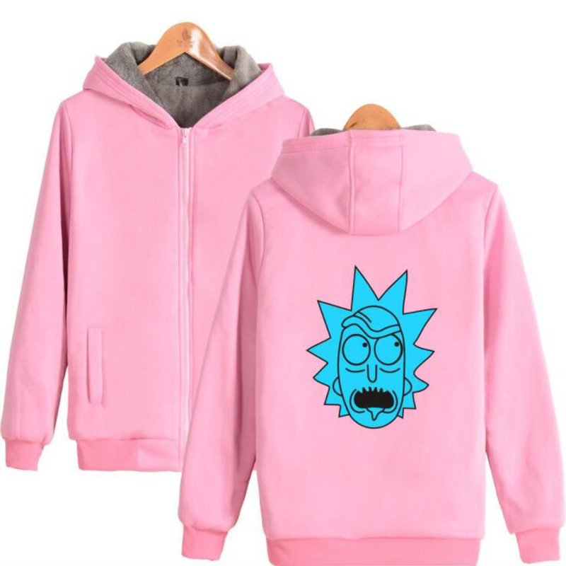 Funny Rick and Morty Pink Hoodie Men Women Harajuku Sweatshirt Winter Thicken Warm Zipper Hooded Jacket Coat Hip Hop Clothing
