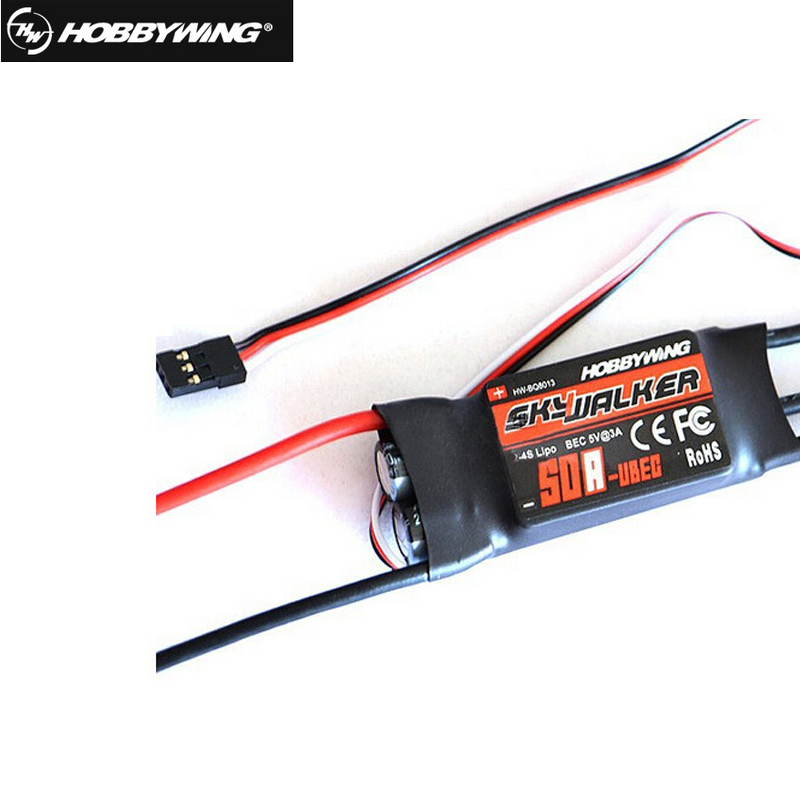 1pcs 100% Original Hobbywing skywalker 50A(2-4s) brushless ESC for RC Multicopters Helicopters Quadcopter Airplanes free shpping 4set lot universal rc quadcopter part kit 1045 propeller 1pair hp 30a brushless esc a2212 1000kv outrunner brushless motor