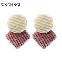 WNGMNGL 2018 New Vintage Elegant 3 Colors Geometric Cotton Drop Dangle Earrings For Women Charm Statement Fashion Jewelry Gift