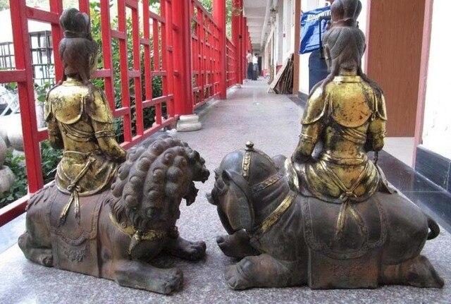 "24"" Tibetan Bronze Carved Manjusri Samantabhadra Statue  free shipping"