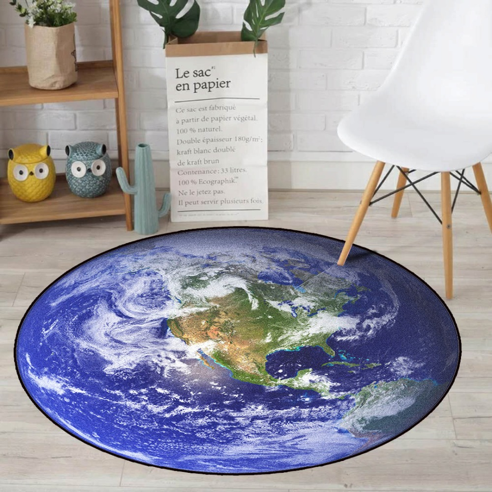 Round Carpet Print Earth Planet Soft Carpets Anti-slip Rugs 60/80/100cm Computer Chair Mat Floor Mat For Kids Room Home Decor To Prevent And Cure Diseases Carpets & Rugs Home Textile