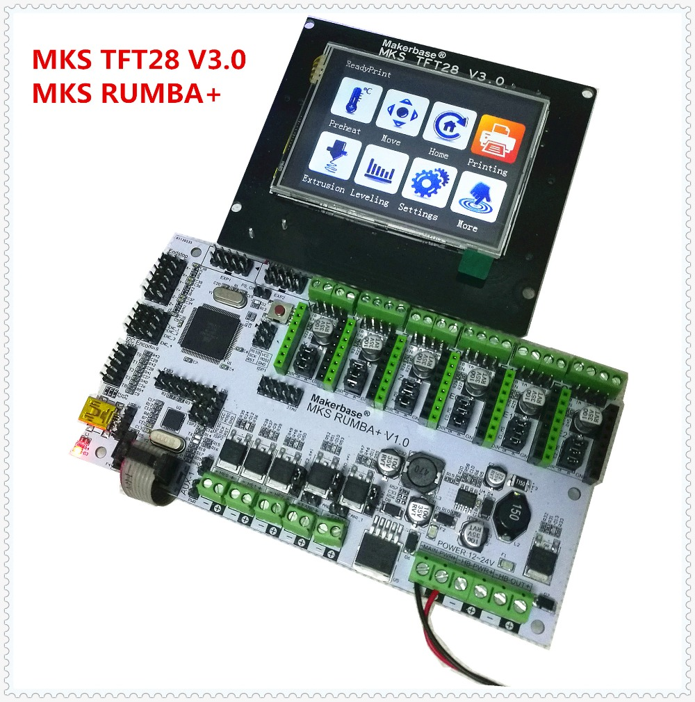 3D printer mother board MKS Rumba + MKS TFT28 v3.0 touch screen display LCD all in one board DIY kit controller card Rumba-board