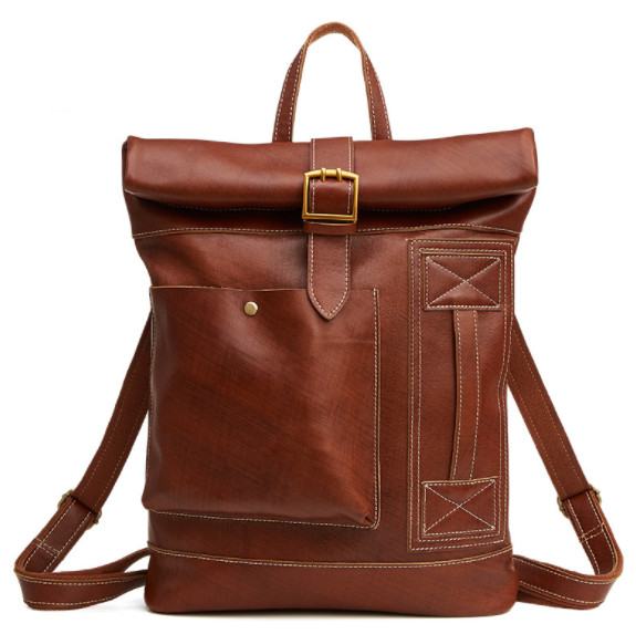 New Genuine  Leather Men Bag Fashion Casual Backpack Large Capacity Men's cow Leather Travel Bag