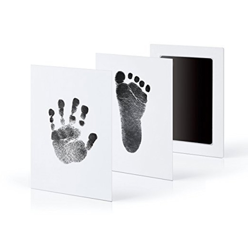 Newborn Baby Handprint Footprint Photo Frame Kit Non-Toxic Clean Touch Ink Pad W15