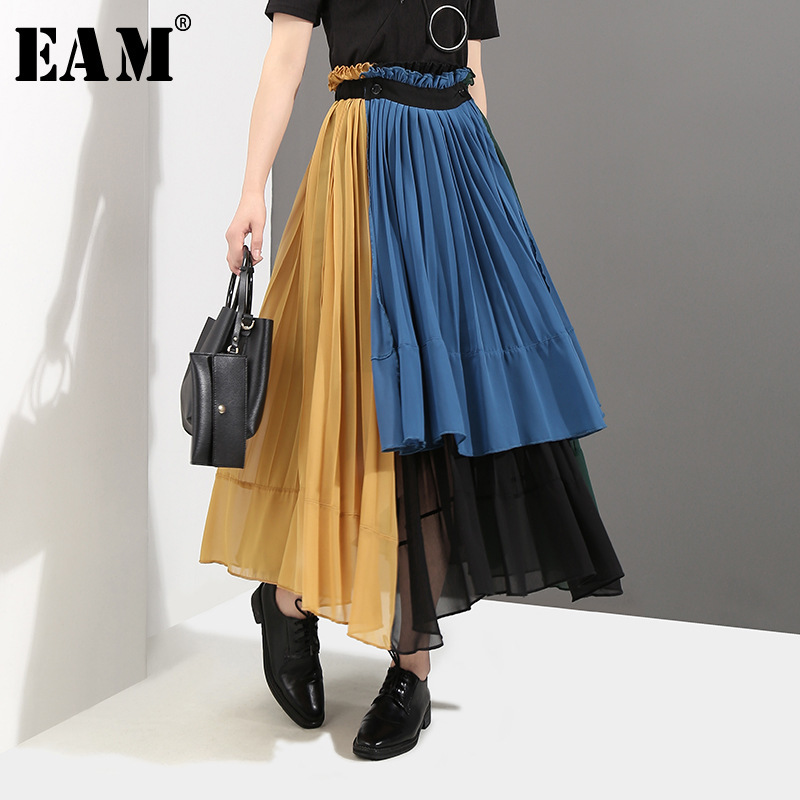 [EAM] 2020 New Spring High Elastic Waist Green Hit Color Pleated Irregular Haf-body Skirt Women Fashion  All-match JG208