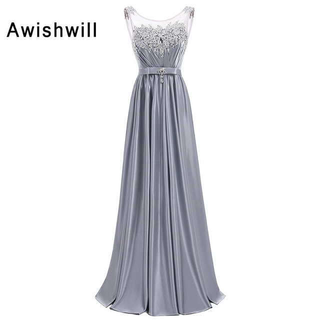 New Arrival Silver Prom Dresses Long A line Sleeveless Sequin and ...
