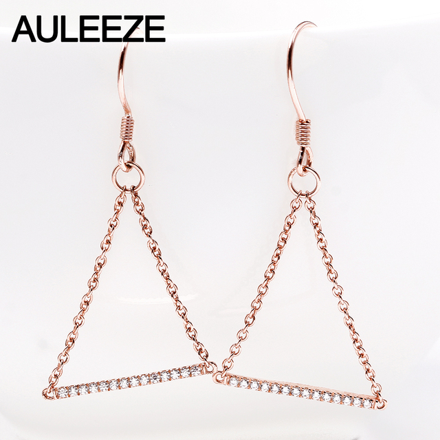 Auleeze 0 14cttw Real Natural Diamond Drop Earrings Triangle Design Solid 18k Rose Gold Chain